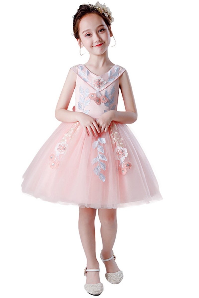 Flower Girl's Fluffy Gauze Applique Dress Bridesmaids & Flower Girls