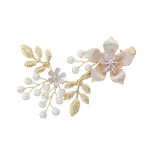 Flowers Pearl Bridal Side Clip Wedding Hair Clip Accessories Hair Combs Golden