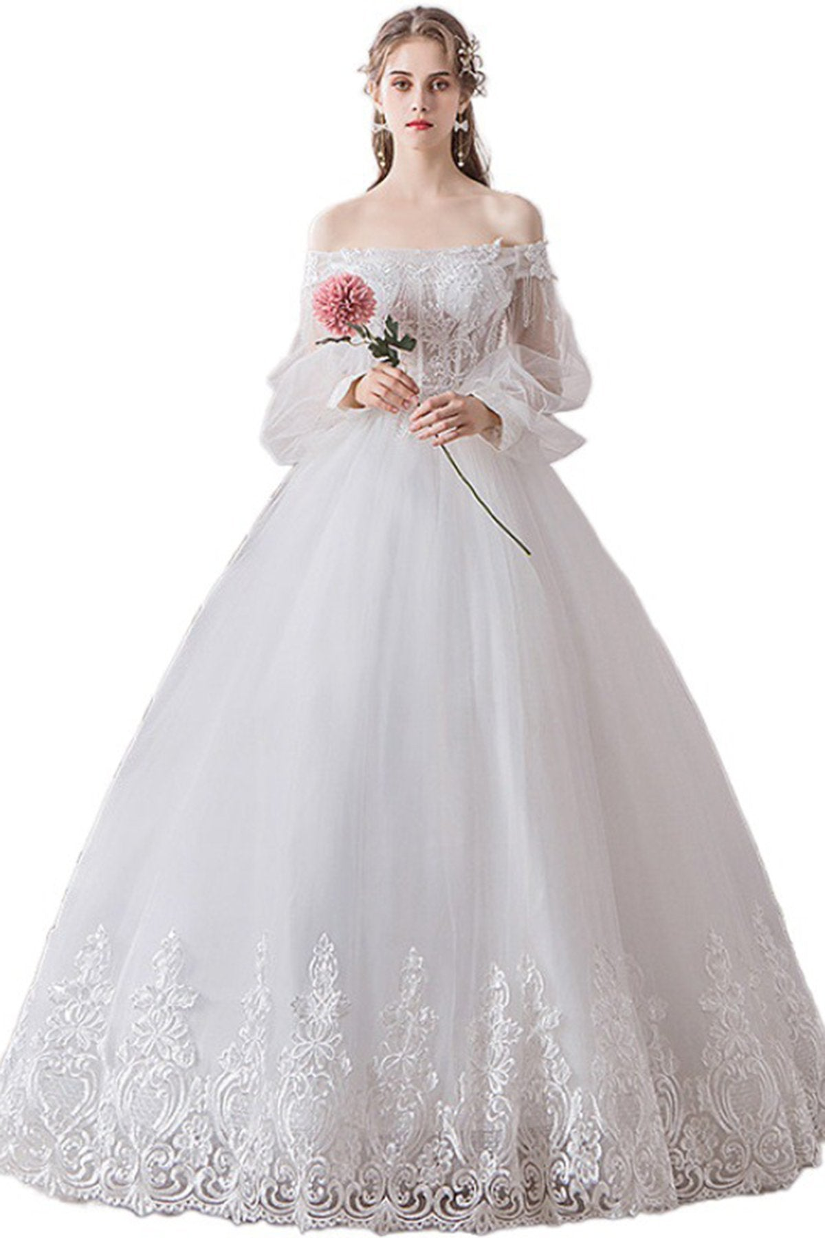 French Style Off Shoulder Tulle Wedding Dress For Wedding Trip Shot Wedding Dress
