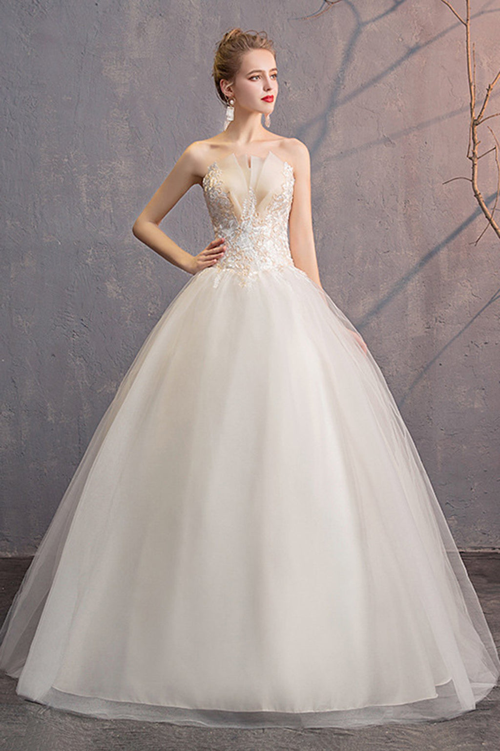 French Style Strapless Chapel Train Tulle Wedding Dress Wedding Dress