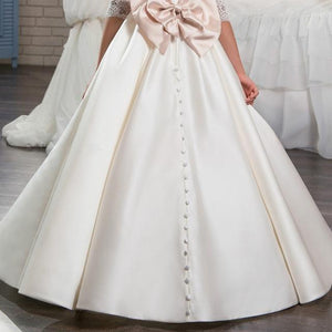 Girls Dress Retro Satin Flower Girl Wedding Dress Bridesmaids & Flower Girls