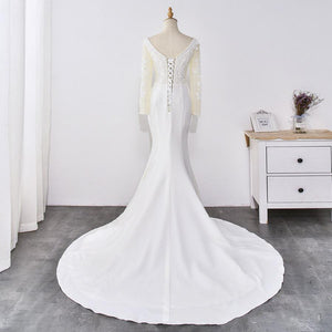 Handmade Crystal Long-Sleeved Deep V-Neck Wedding Dress Wedding Dress