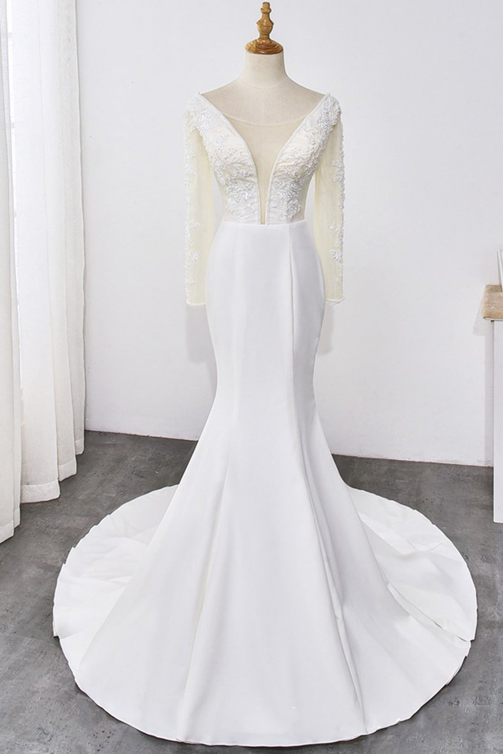 Handmade Crystal Long-Sleeved Deep V-Neck Wedding Dress Wedding Dress S White