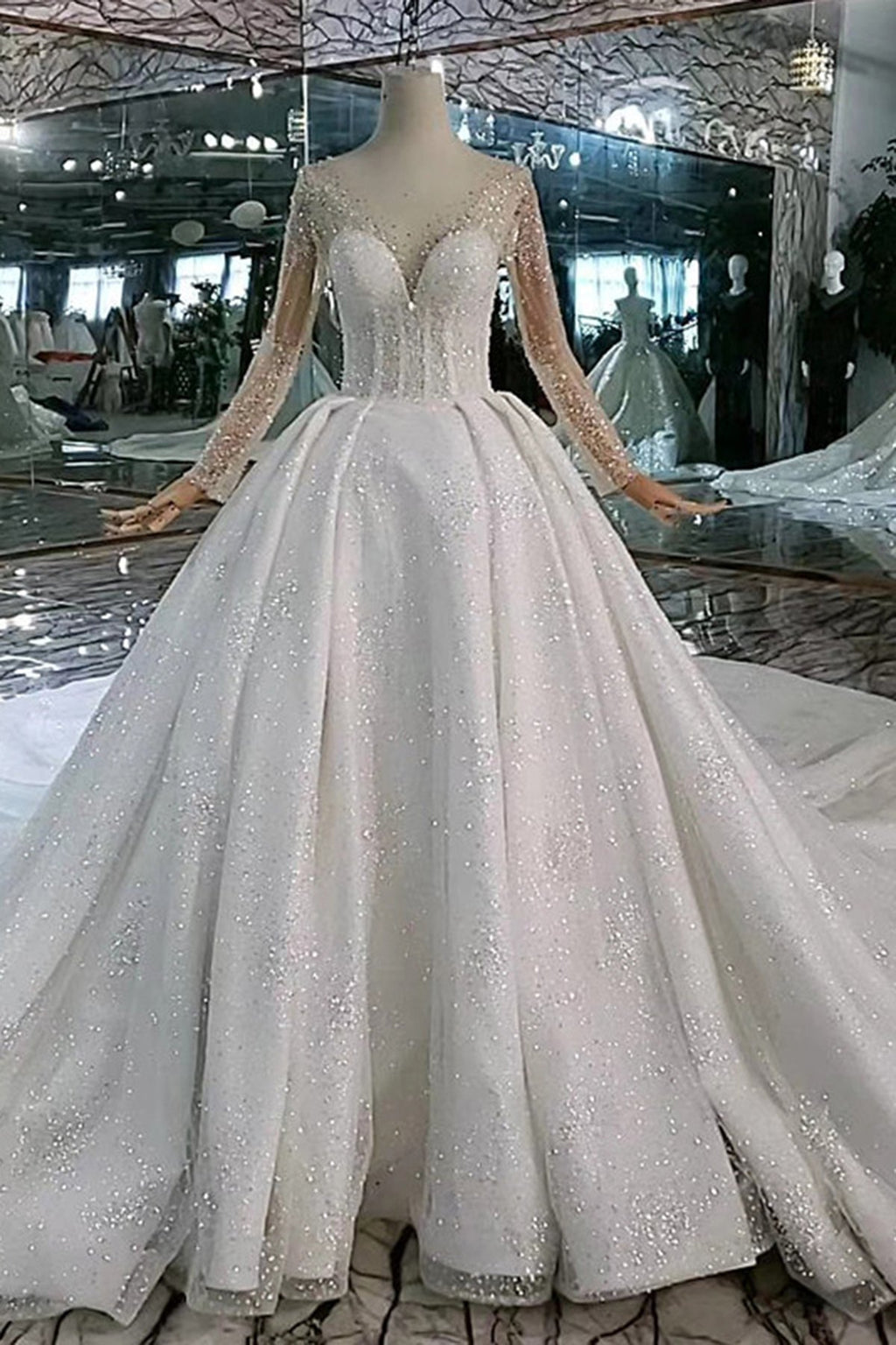 Handmade Crystal Luxury Cathedral Train Pure White Wedding Dress Wedding Dress 2 White (100cm Cathedral Train)
