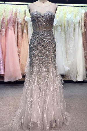 Handmade Diamond Luxury Crystal Sexy Dress Evening Dress Evening Dresses XS Gray