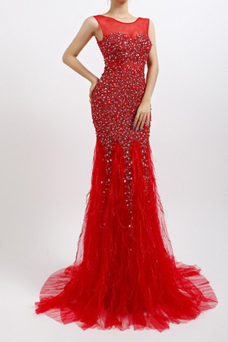 Handmade Diamond Luxury Crystal Sexy Dress Evening Dress Evening Dresses XS Red