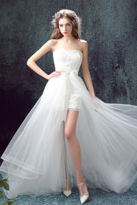 High-Low Hem Lace Wedding Dress Hollow-Out Brides
