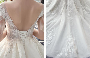 High Waist V-Neck Tailing Wedding Gown Brides