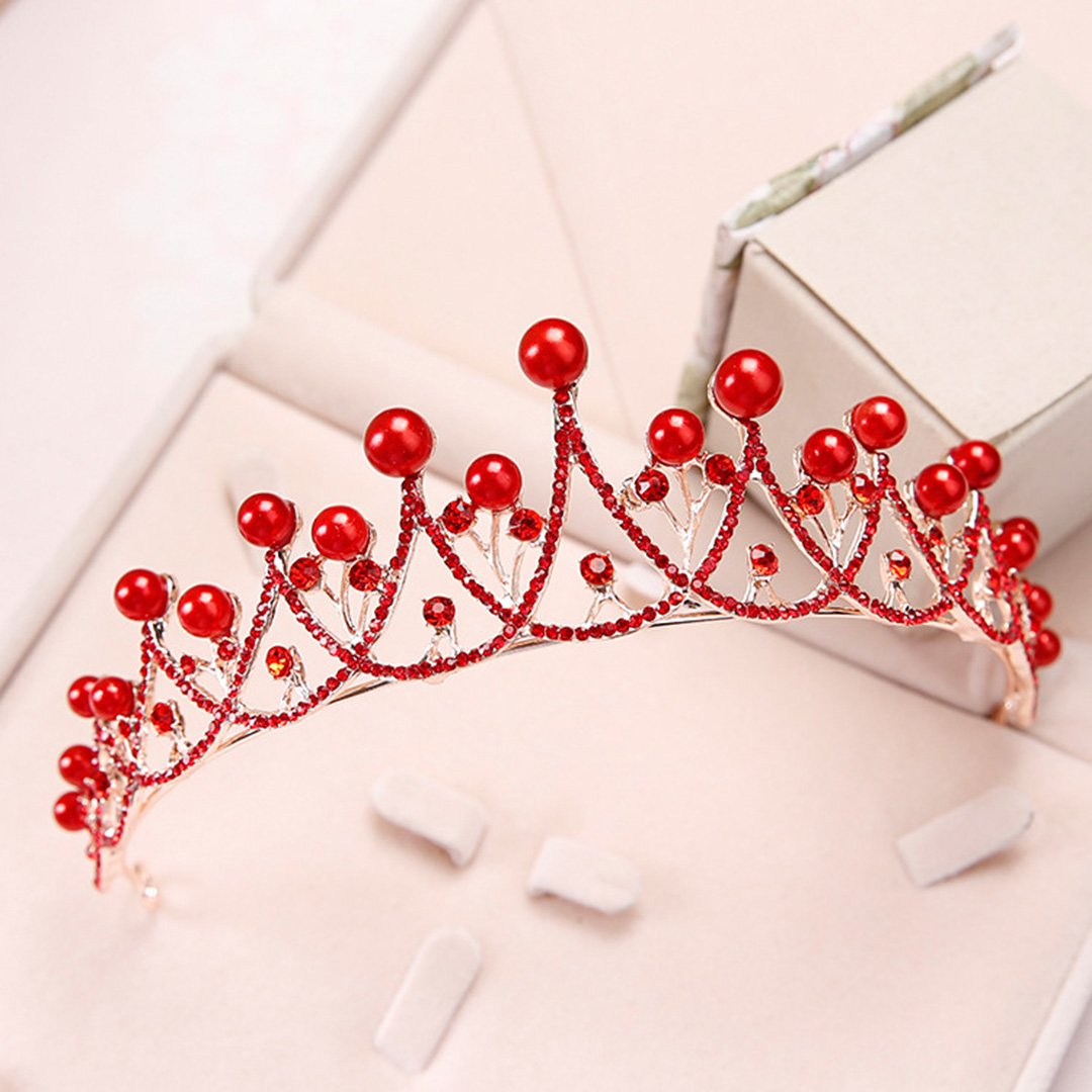 Imitation Pearls Crown Wedding Headpieces Gold Silver Diadem Diadems Red