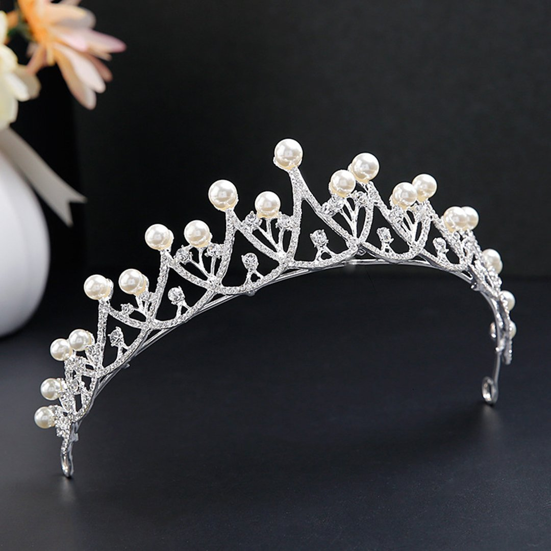 Imitation Pearls Crown Wedding Headpieces Gold Silver Diadem Diadems White