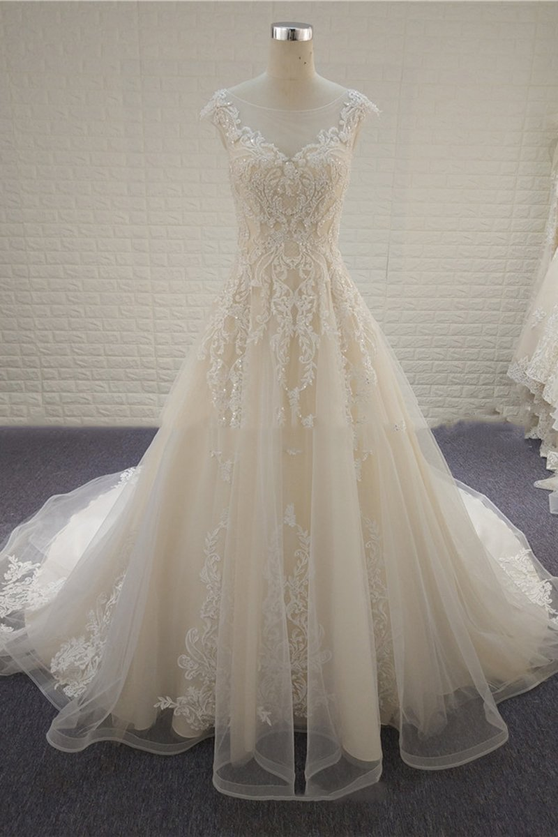 Lace Court Train Champagne Wedding Dresses Wedding Dress XXS White