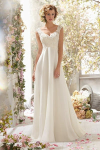 Lace Double V-Neck Sleeveless Wedding Dress Brides