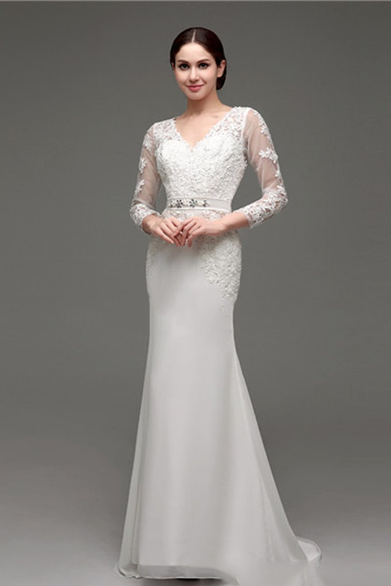 Lace Long Sleeve Slim Simple Wedding Dress Wedding Dress XS white