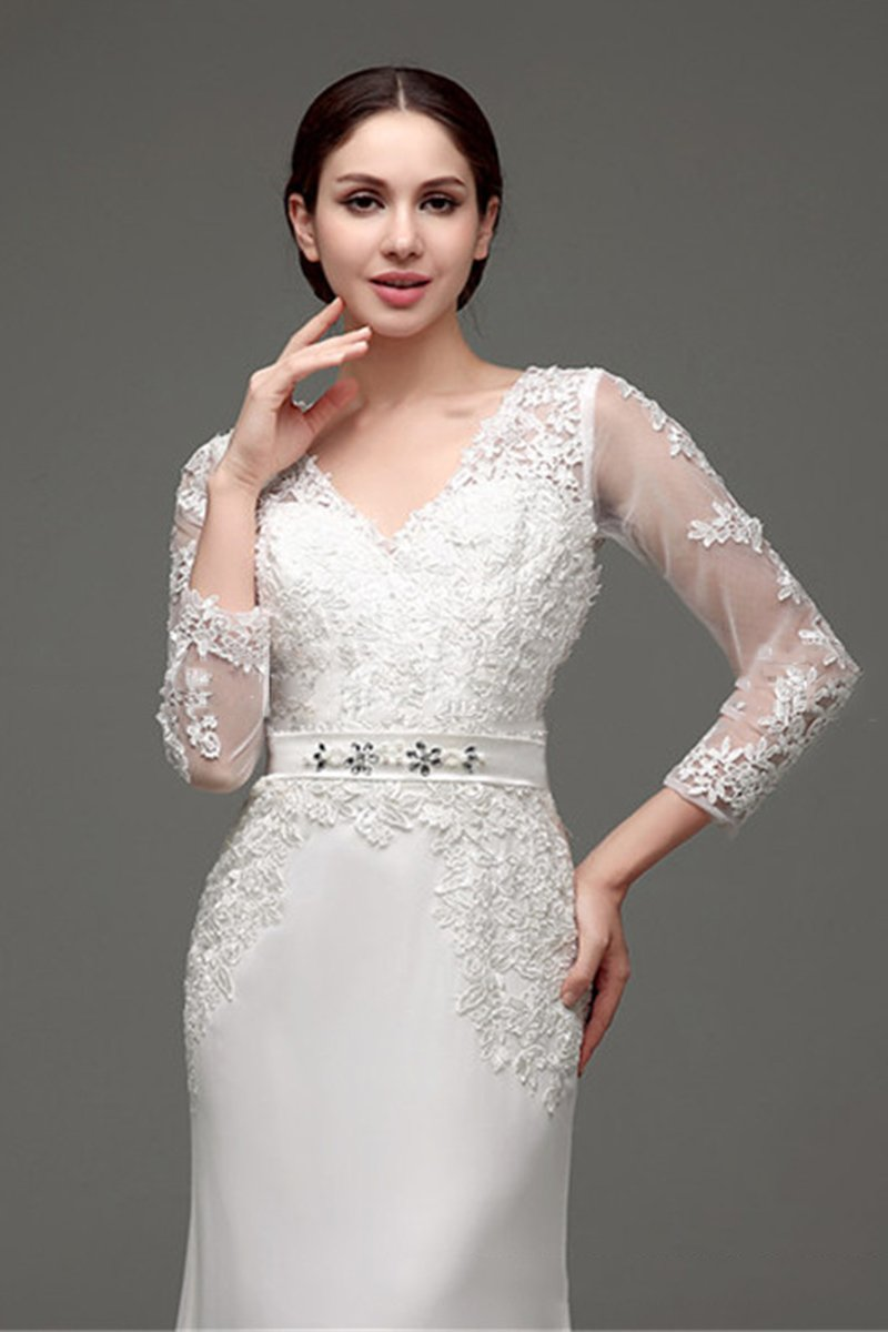 Lace Long Sleeve Slim Simple Wedding Dress Wedding Dress