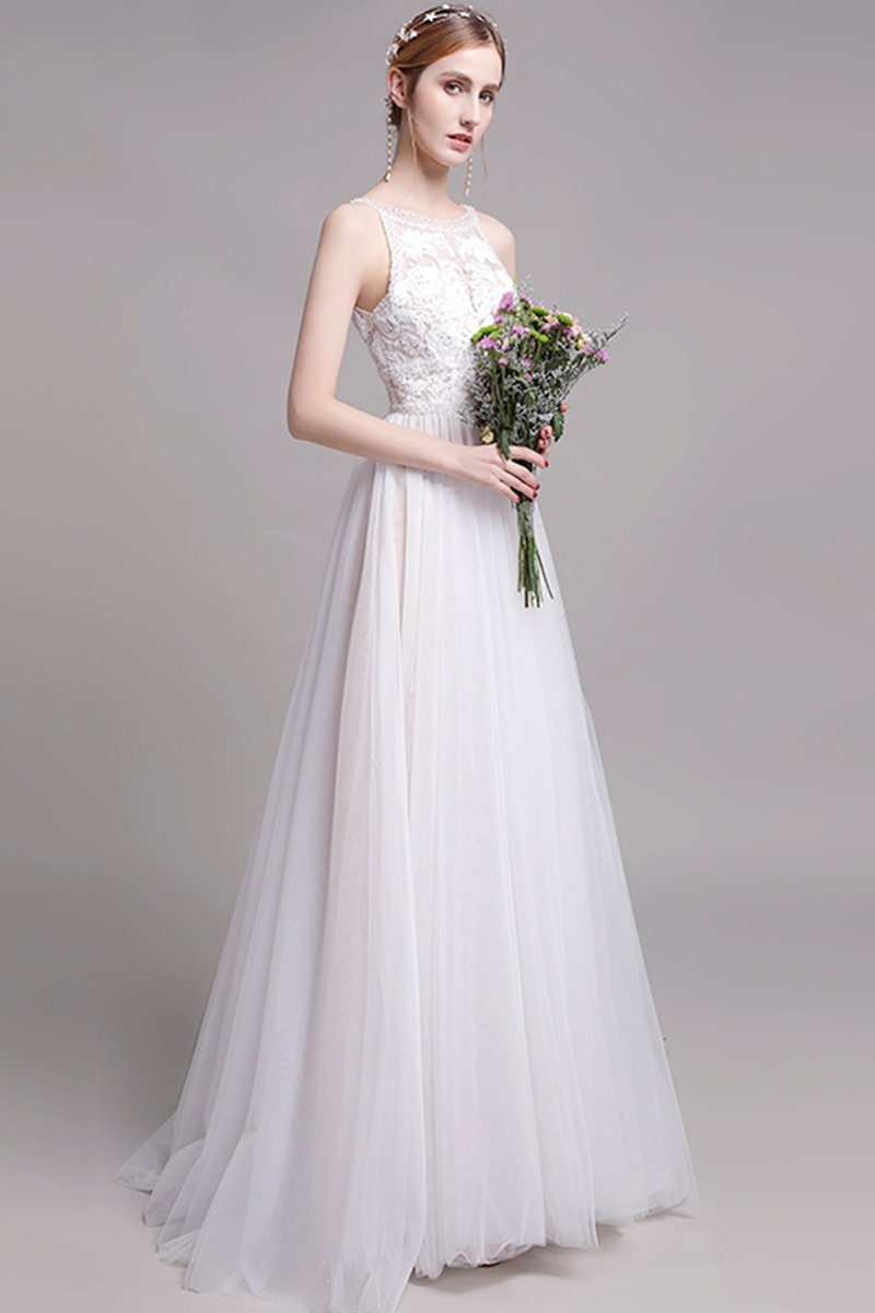 Lace O-neck Sleeveless Maxi Bridal Dress Brides