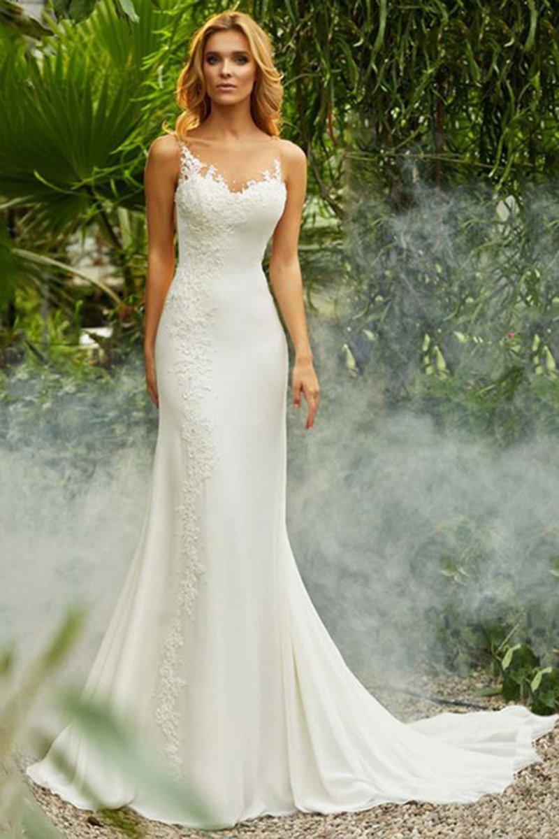 Lace Single Shoulder Strap Sexy Trailing Bride Wedding Dress Wedding Dress S White