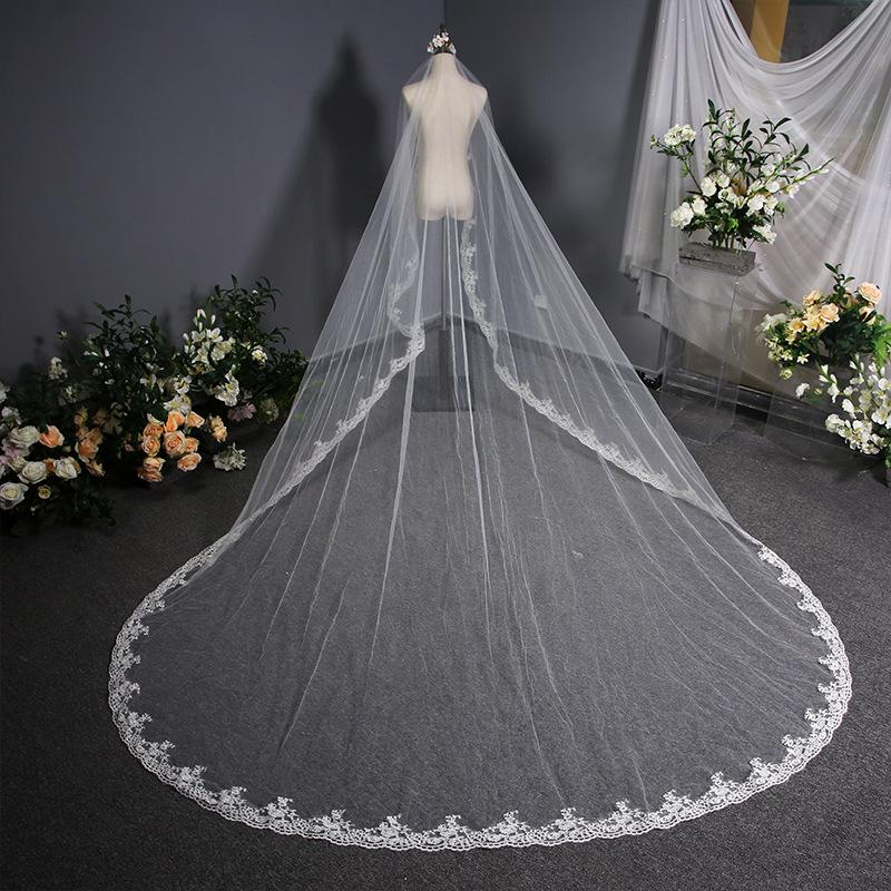 Lace Tail Yarn Veil Long Wedding Bridal Veil Bridal Veil 3.8m*3m White