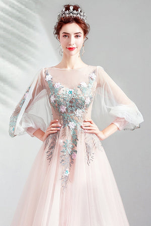 Lantern Sleeve Pink Bride Embroidery Toast Dress Brides
