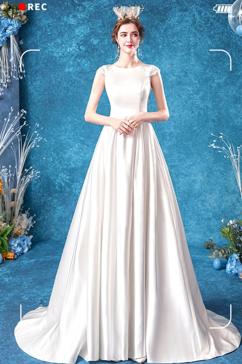 Light Luxury Satin Trailing Wedding Dress Brides