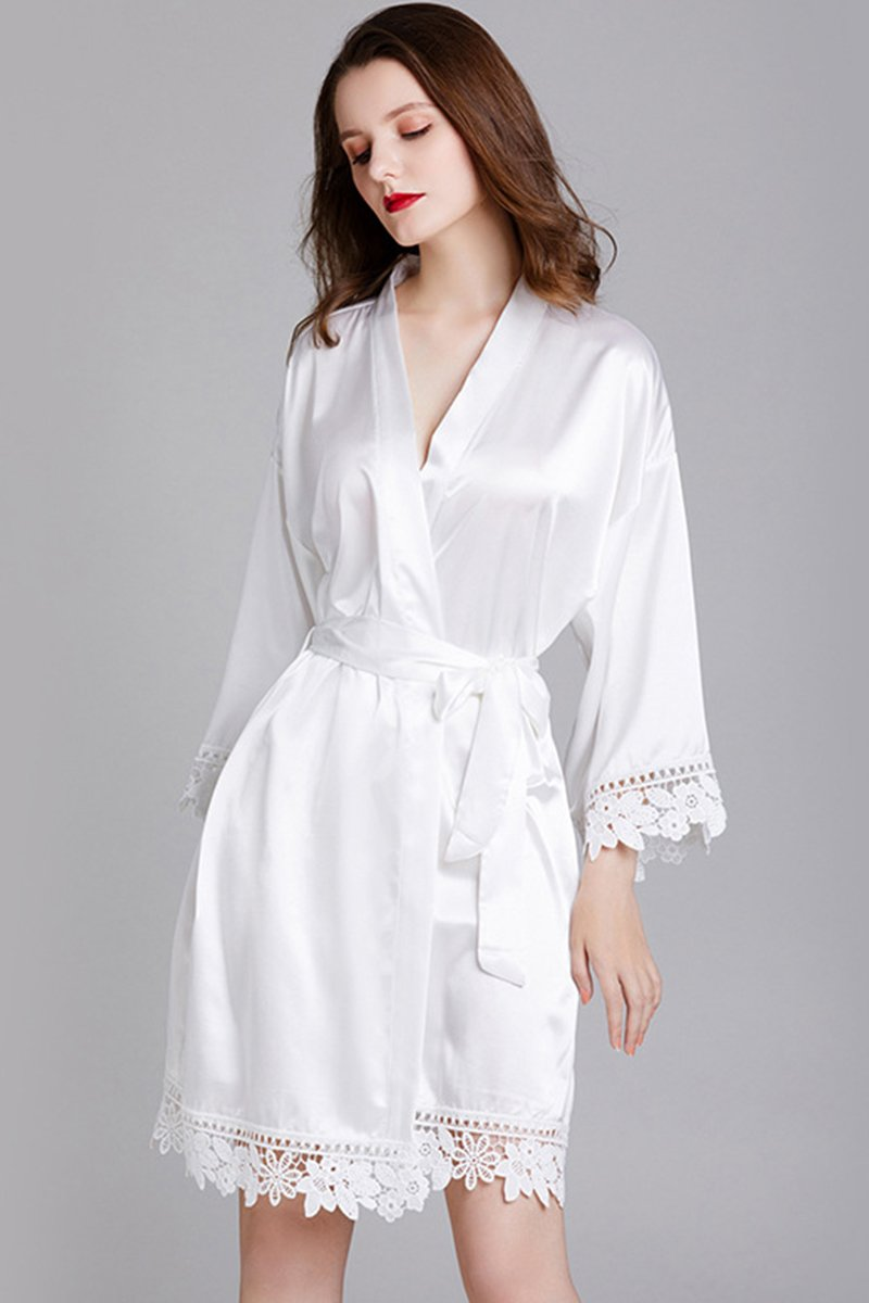 Long-Sleeved Loose Home Bride Bridesmaid Robe Accessories One Size White