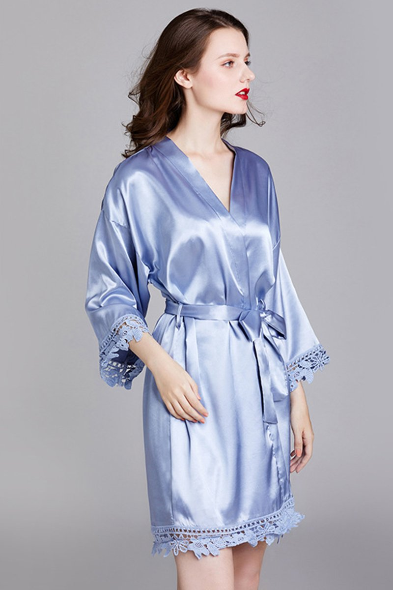 Long-Sleeved Loose Home Bride Bridesmaid Robe Accessories One Size Gray