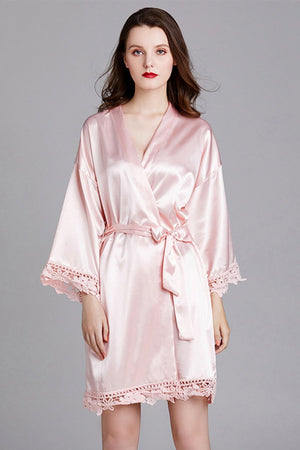Long-Sleeved Loose Home Bride Bridesmaid Robe Accessories One Size Pink