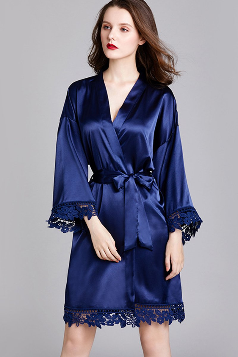 Long-Sleeved Loose Home Bride Bridesmaid Robe Accessories One Size Navy Blue
