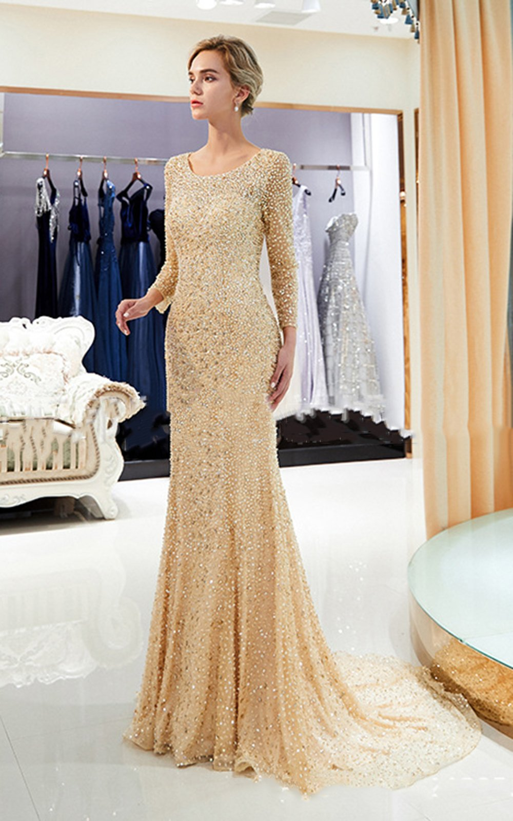 Long-Sleeved Two-Color Backless Important Occasions Dinner Dress Wedding Dress