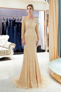 Long-Sleeved Two-Color Backless Important Occasions Dinner Dress Wedding Dress US2 Champagne