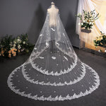 Long Tail Lace Bride Veil Wedding Bridal Veil Bridal Veil 3.8m*3m White