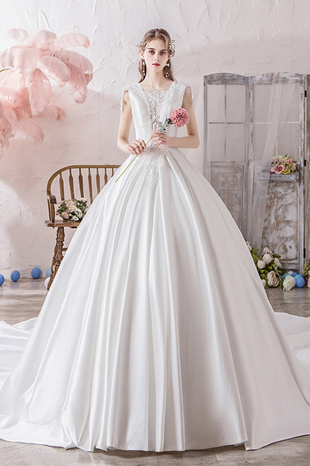 Luxurious Buttons Back Cathedral Train Satin Wedding Dress Wedding Dress S White