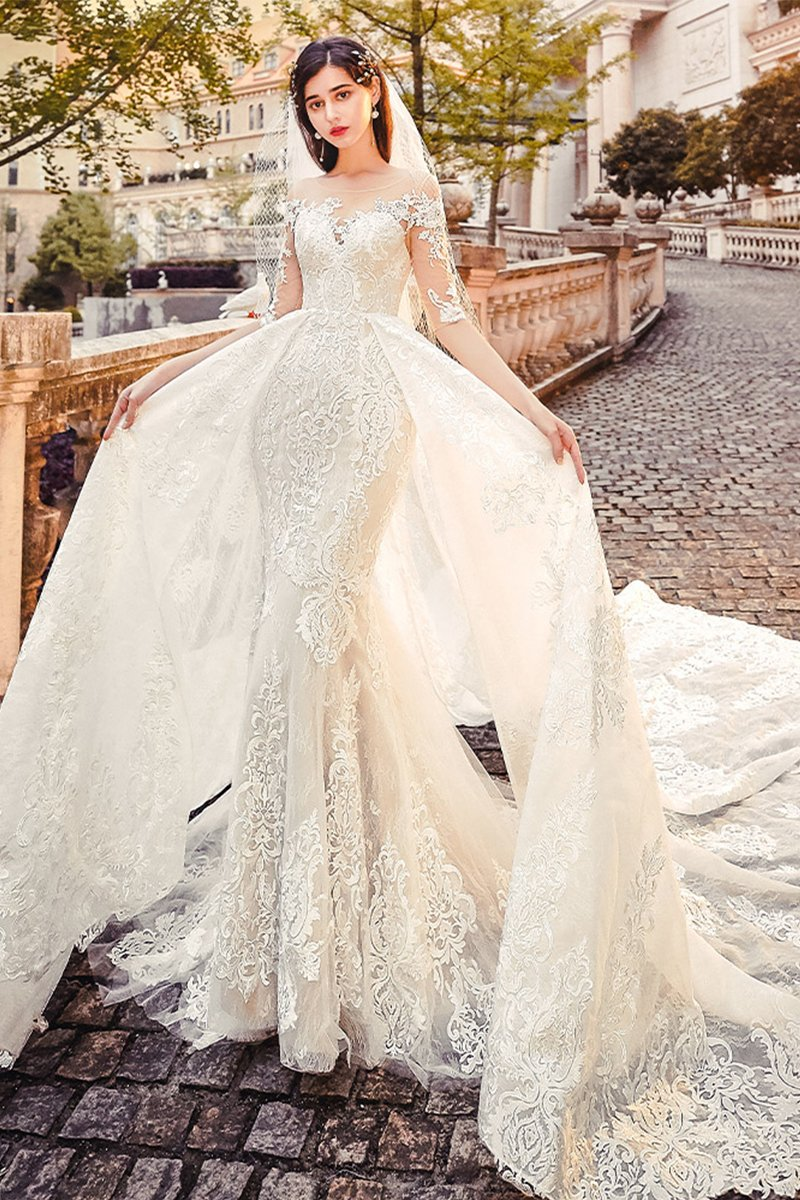 Luxury Tail Slim Bridal Wedding Dress Brides