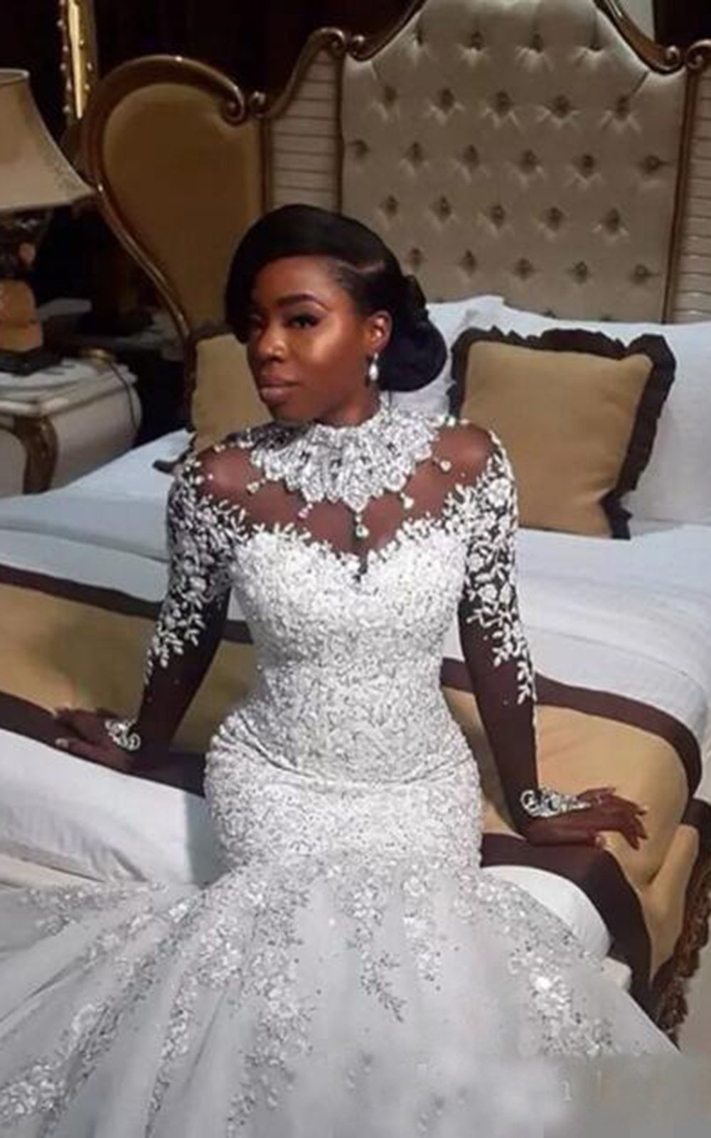 Mermaid Wedding Dress Long Sleeve High Collar Fantasy Lace Applique Crystal Beads Wedding Dress US£º2£¨S£© White
