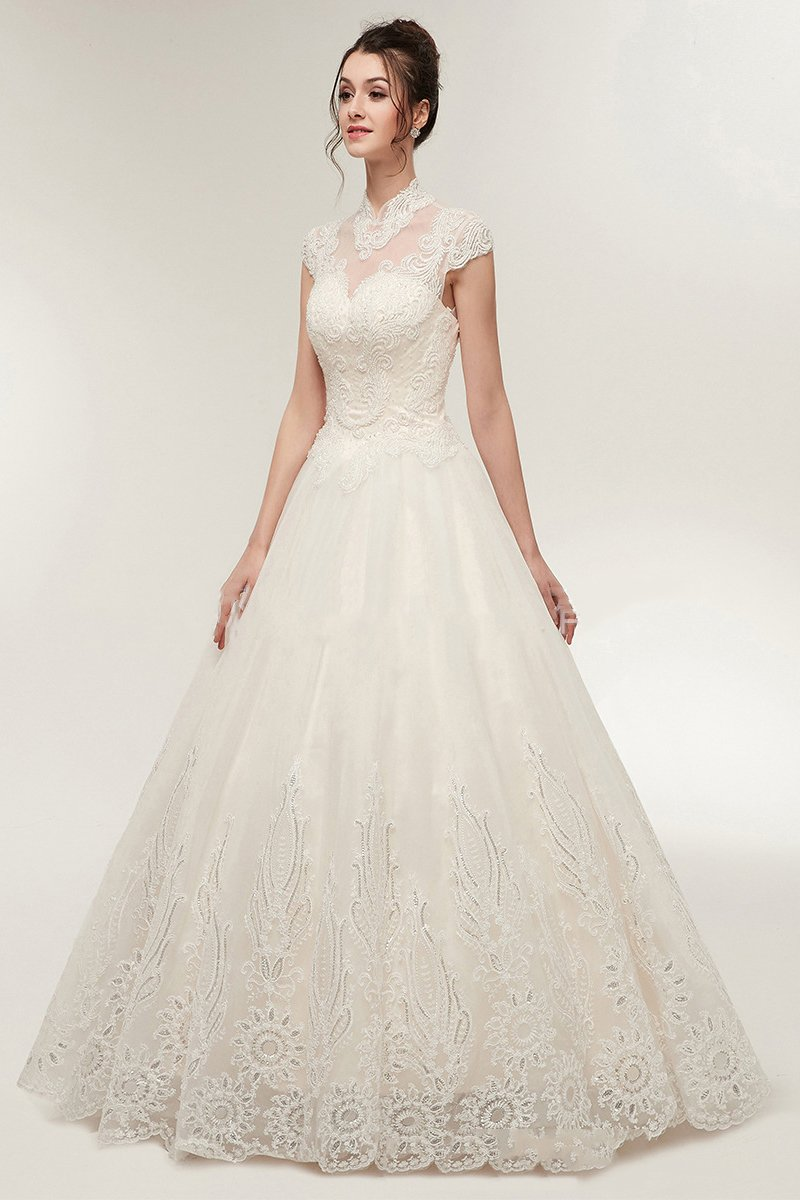 Middle-Neck Lace Handmade Wedding Dress Wedding Dress