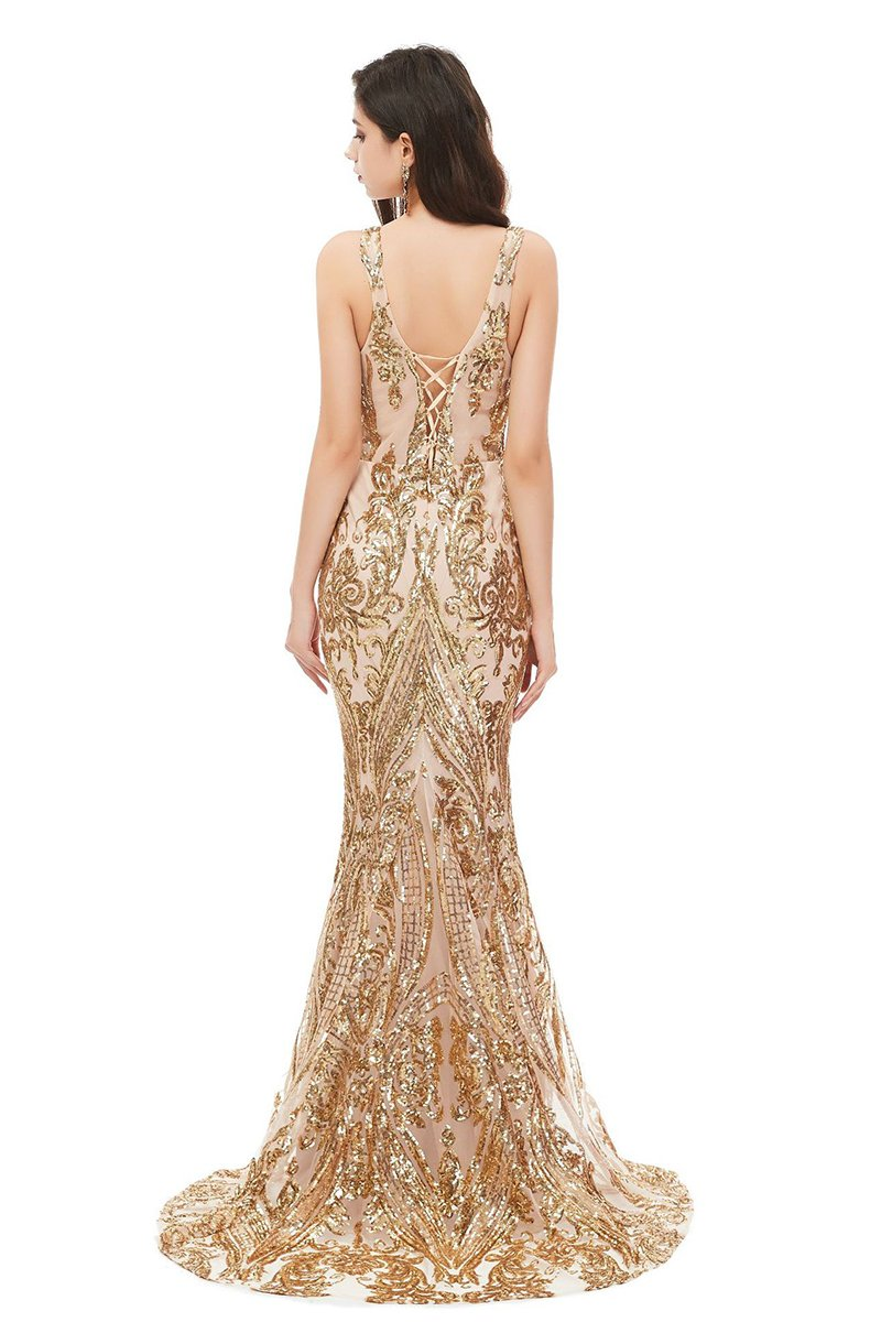 New Sexy Sleeveless Sequin Evening Dress
