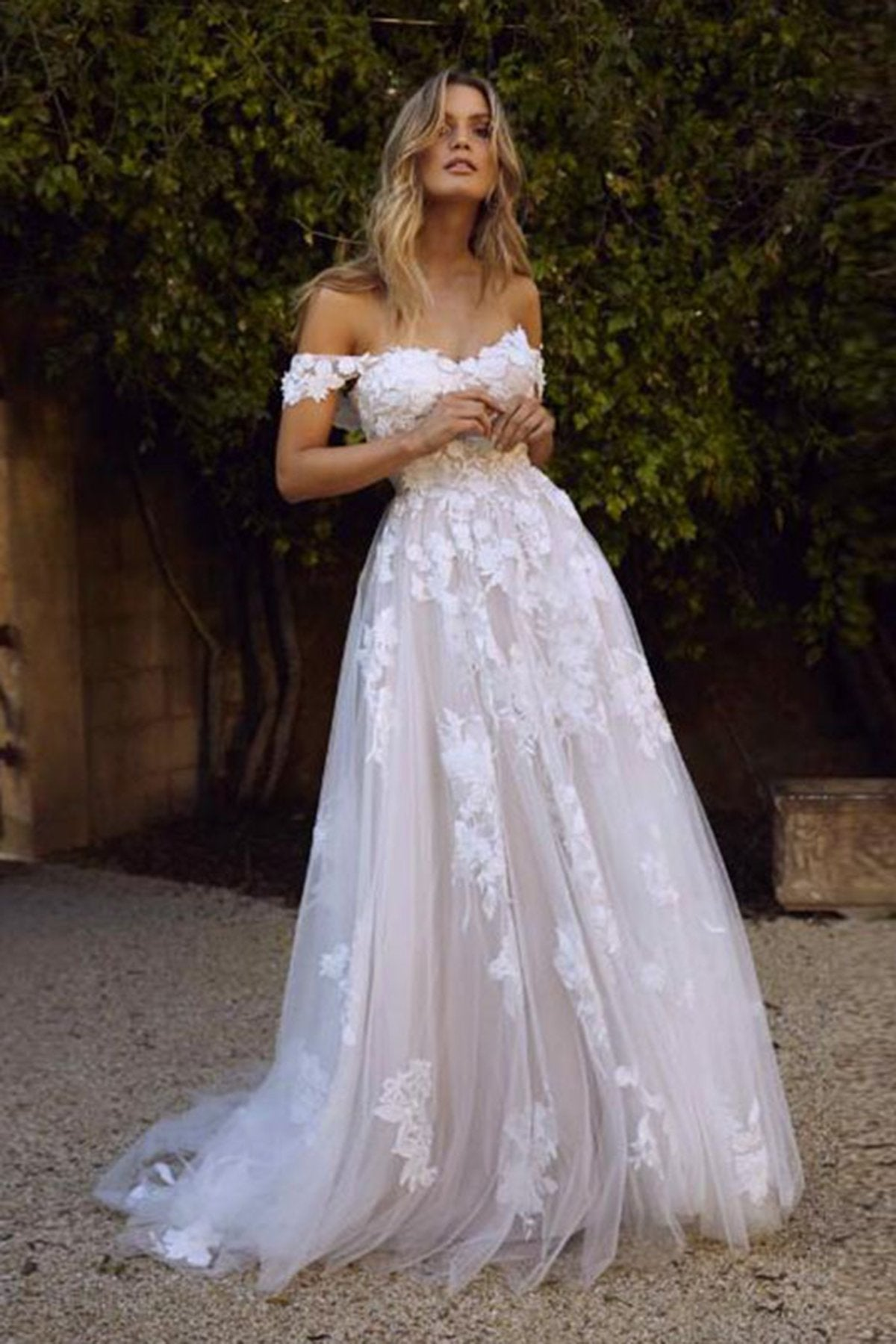 Off Shoulder Sexy Applique Sweep Train Wedding Dress Wedding Dress