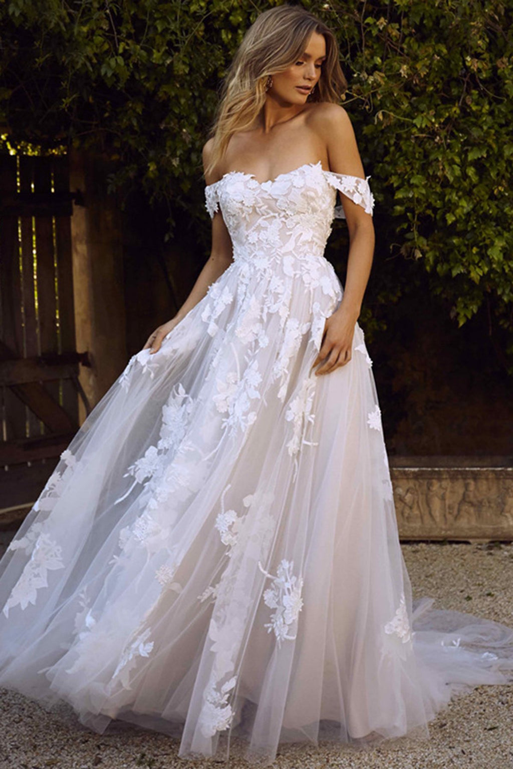 Off Shoulder Sexy Applique Sweep Train Wedding Dress Wedding Dress US2 Ivory