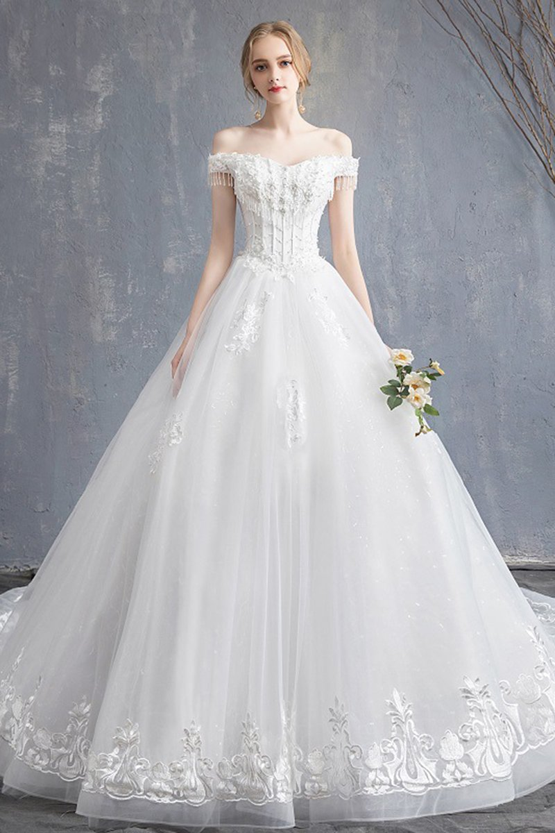 Off-Shoulder Tassel Design Fantastic Bride Wedding Dress Wedding Dress S White
