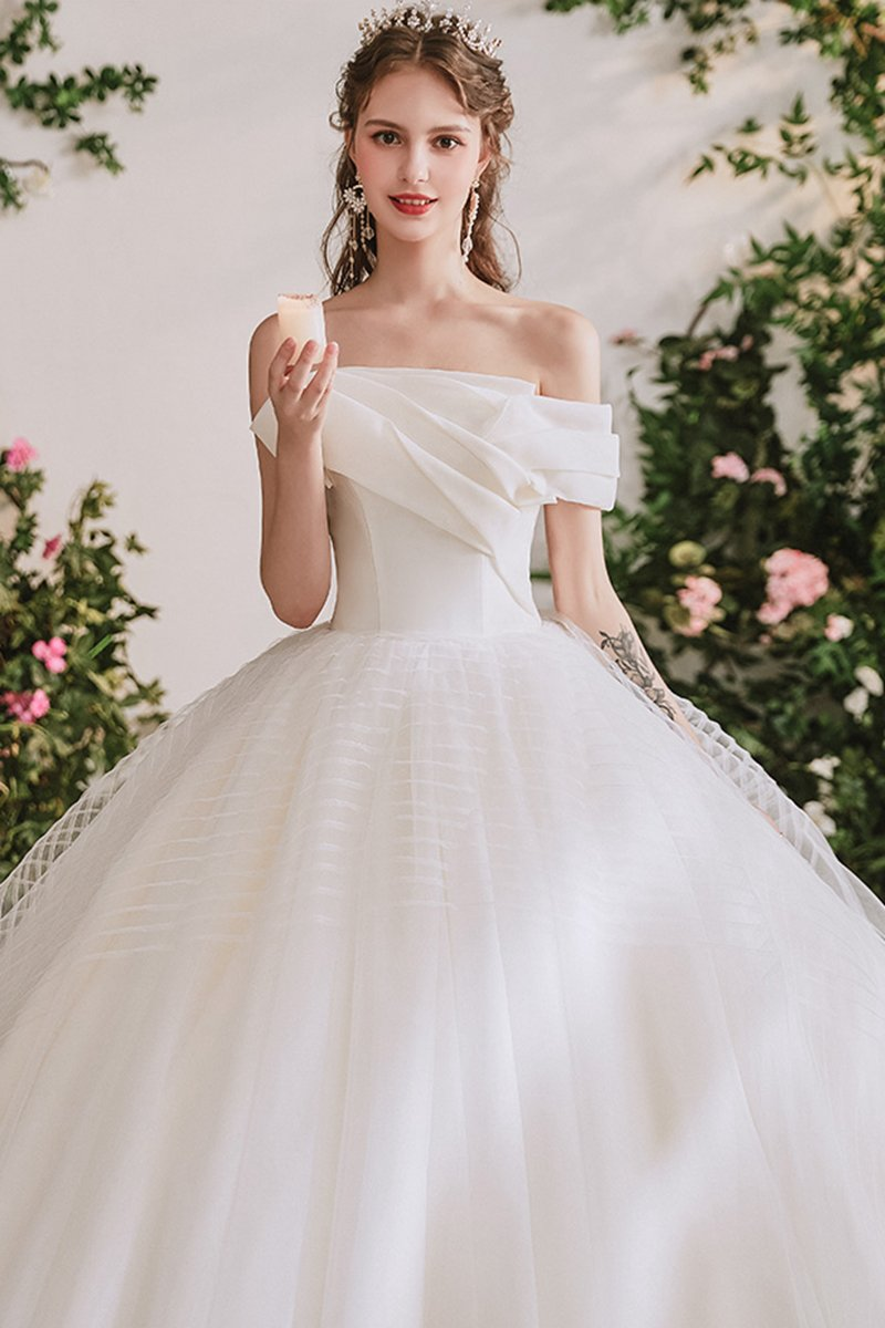 Off-shoulder Tube Top Fairy Dream Wedding Dress Brides