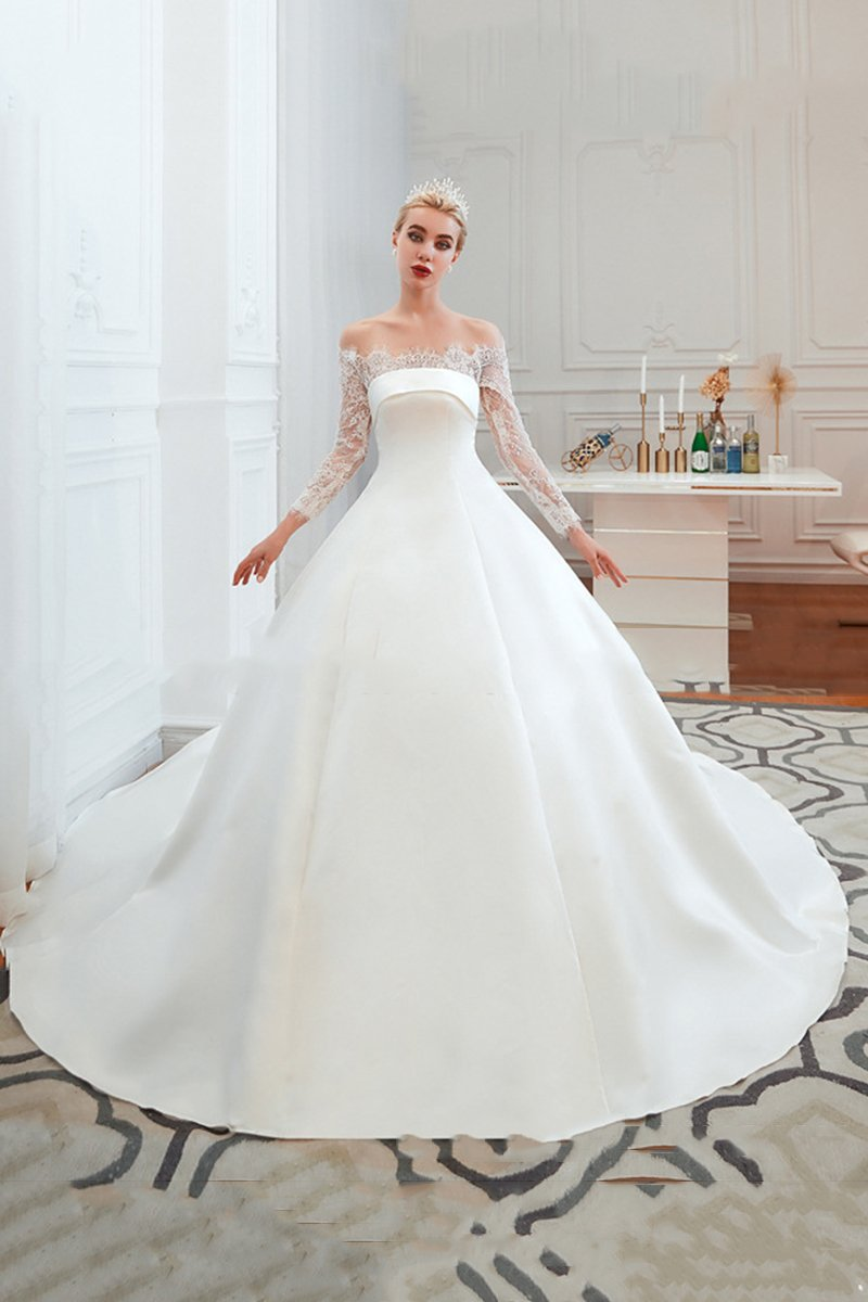 One Shoulder 3/4 Sleeve Wedding Dress Wedding Dress US2 White