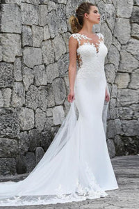 One-Shoulder Fishtail Slimming Simple Trailing Wedding Dress Wedding Dress US: 2 (S) White
