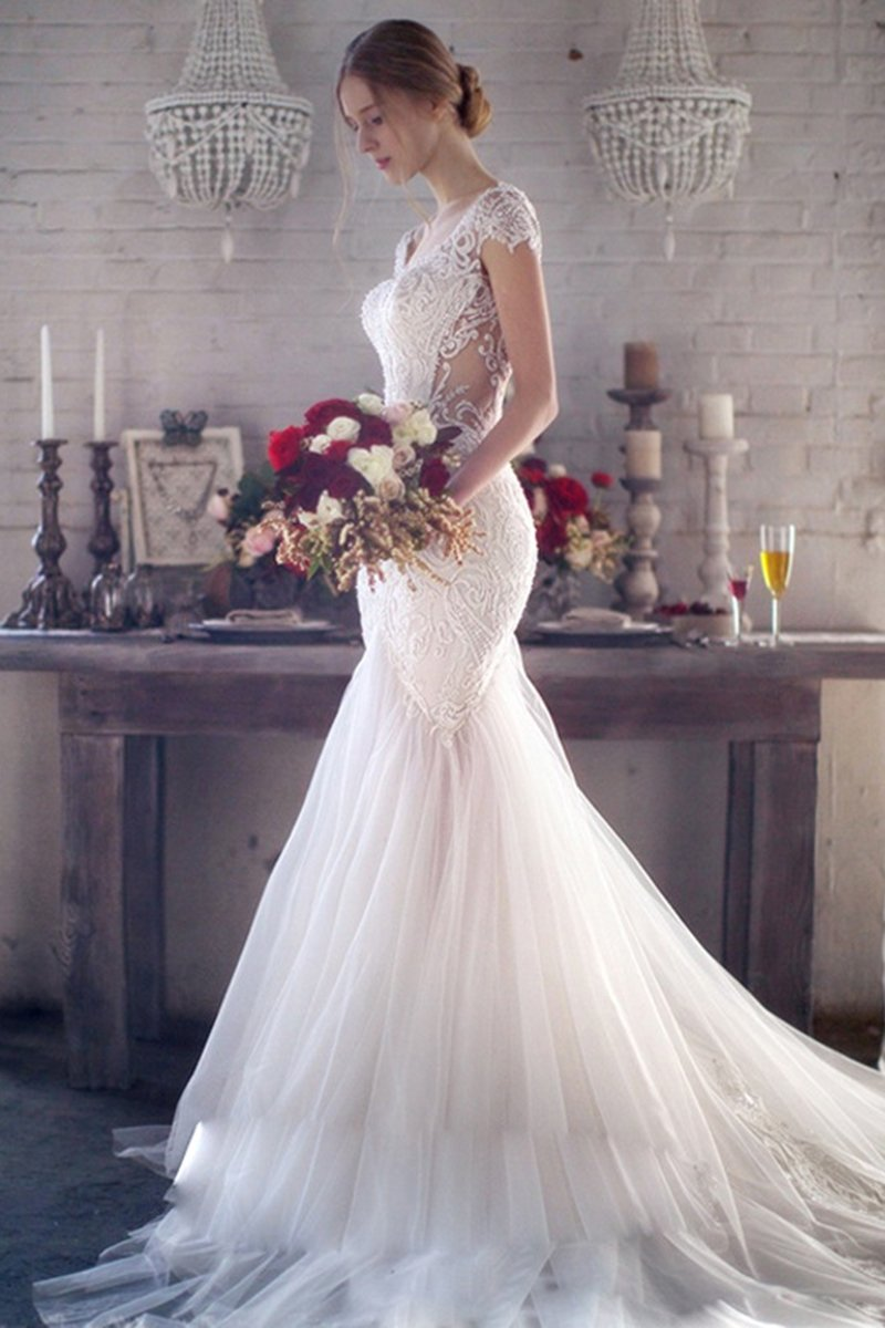 One-Shoulder Sexy Slim Fish Tail Lace Wedding Dress Wedding Dress XS White