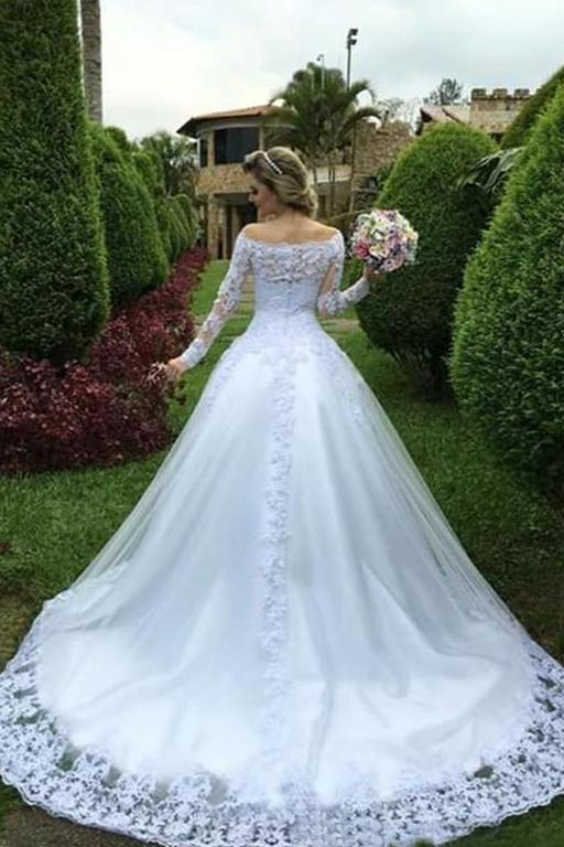 One Shoulder Wedding Dress Bride Princess Lace White Wedding Dress