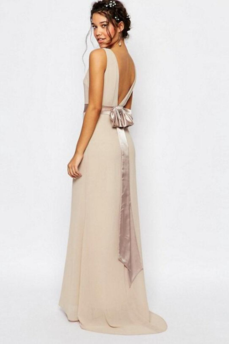 Open Back Sweep Train Simple Bridesmaid dress Evening Dresses