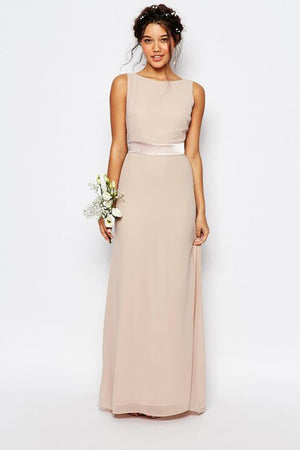Open Back Sweep Train Simple Bridesmaid dress Evening Dresses XS Champagne