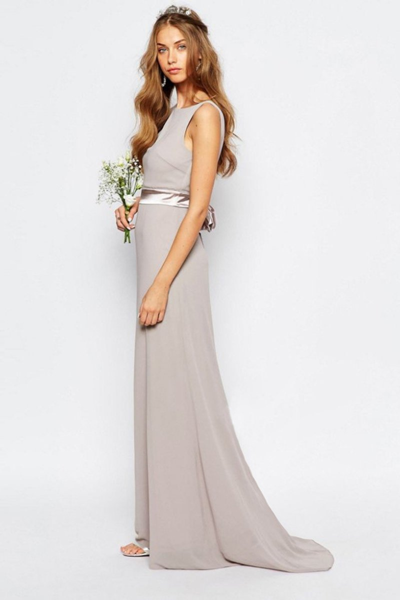 Open Back Sweep Train Simple Bridesmaid dress Evening Dresses XS Khaki