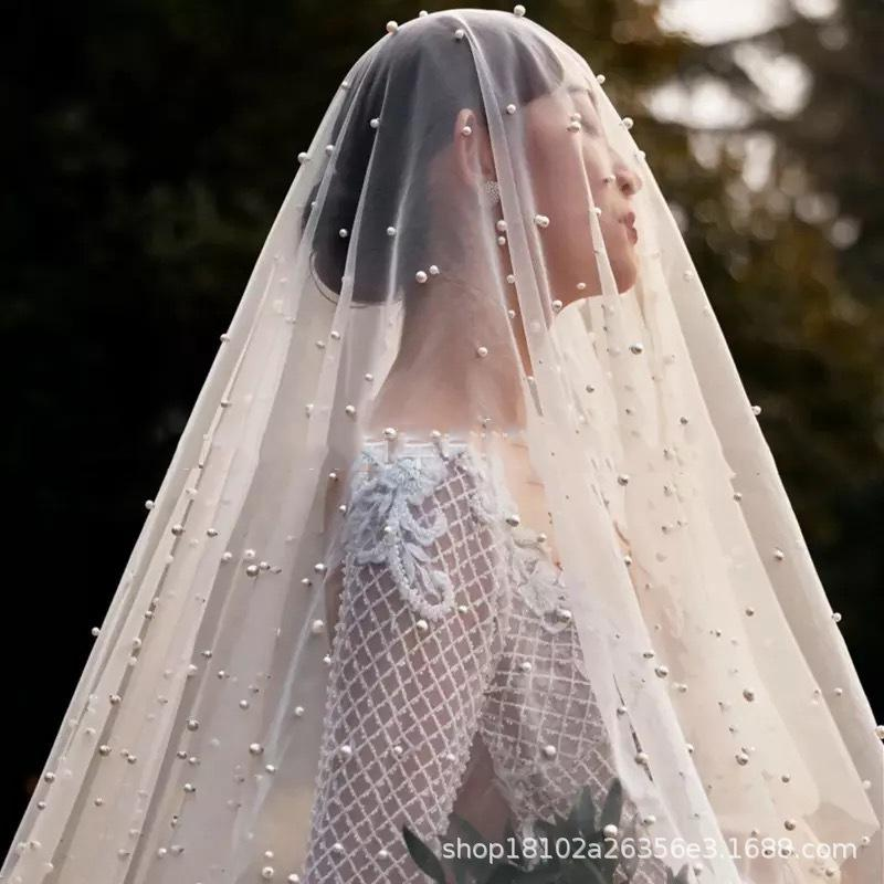 Pearl Beil Hand-Made Wedding Bridal Veil Bridal Veil 1.5m White