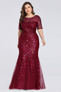 Plus Size Sequins Evening Gown Fishtail Dress Evening Dresses US16 Wine Red