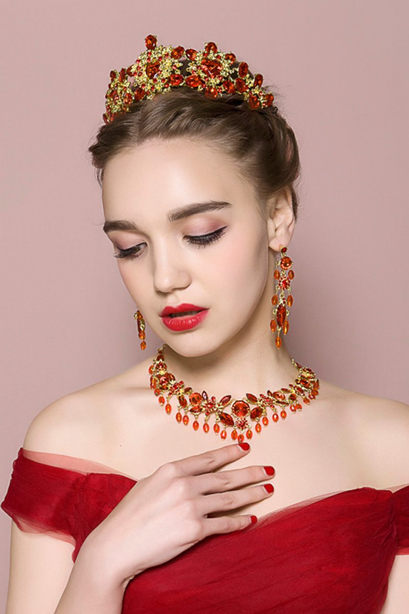 Red Bridal Crown Necklace And Ear Pin Three-Piece Set Accessories