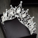 Retro Baroque Wedding Crown Bridal Atmospheric Crystal Hair Accessories Diadems Silver